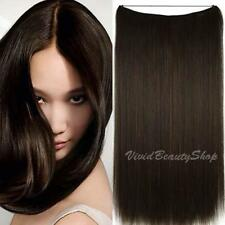 Halo Invisible Wire Flip Hair In No Clip Remy Human Hair Extensions Dark Brown