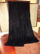 CUSTOM TRUE BLACK CRUSHED VELVET (PAIR) LINED POLE TOP PANELS 37 X 85