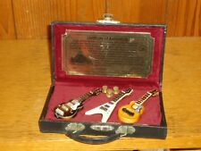 Rock & Roll Hall Of Fame Museum Handmade Painted Miniature Gibson Guitars & Case