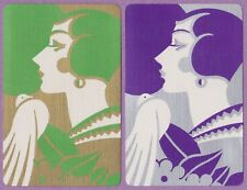 2 Single VINTAGE Swap/Playing Cards ART DECO LADY & DOVE BIRD Gold/Silver