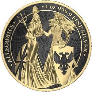 Germania 2019 5 Mark Germania&Britannia - Gold & Black Varnish 1 Oz Silbermünze