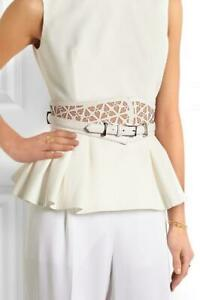Alexander McQueen White Leather Laser Cut Wide Corset Belt Size 75/30 $1,695