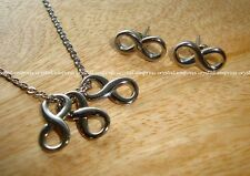 Feng Shui - Set of Triple Infinity Necklace and Earrings (Stainless Steel)