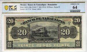 Mexico 1914 20 Pesos Tamaulipas PCGS Banknote Certified Choice UNC 64 S431r ABNC
