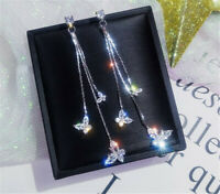 Elegant Long Drop Earrings Women 925 Silver,Gold White Sapphire Jewelry A Pair