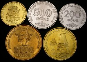 VIETNAM 200 Dong, 500, 1000, 2000 & 5000 Dong 2003 - Lot of 5 Coins - UNC *