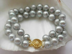 """Double Natural 8-9mm South Sea Gray Pearls Bracelet 7.5-8"""" 14k Yellow Gold p"""