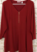 Susan Graver liquid kit shirt top womens XL fit flare vneck quarter zip red P9