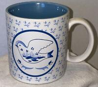 Vintage Russ Berrie Sparrow Coffee Cup/Mug Blue & White