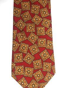 "Banana Republic Men's Silk Tie 58"" X 4"" Burnt Orange w/ multi-color Geometric"