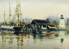"""Doug Lew """"Misty Harbour"""" Original Watercolor Painting boats sea MAKE OFFER!"""