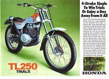 1975 HONDA TL250 TRIALS BIKE 2 page Motorcycle Sales Brochure NCS