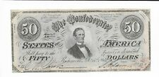 $50 CSA 1864 Confederate Currency T66 Bank Note J Davis #7236 Cr497 Plate z A