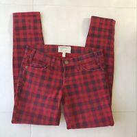Current Elliott Women Sz 24 Jeans The Stiletto Blood Plaid Cotton Stretch Denim