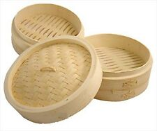 Set of 2 JapanBargain S-2223 Bamboo Steamer Two Tiers 10in  S-2223x2
