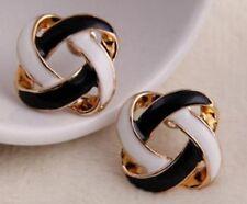 Pair Of Cute Gold Tone Black & White Knot Stud Earrings Ear Rings ER48 UK Seller