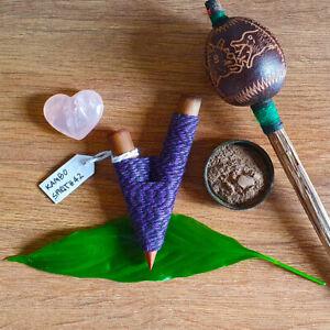 Kuripe Traditional Handmade Rapé Snuff Applicator Pipe Black/Purple String Peru