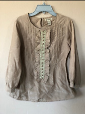 WOMENS FOREVER 21 BROWN RUFFLE TOP BLOUSE SIZE SMALL