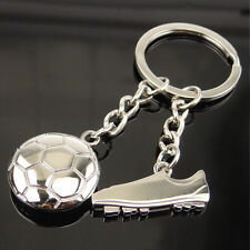 3D Football shoes Sneakers&Ball Keychain KeyRing Unisex Pendant Gift Present