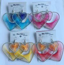 1pairs Fashion Elegant Cute heart Peacock Tail Wire silver Thread Earring Charm