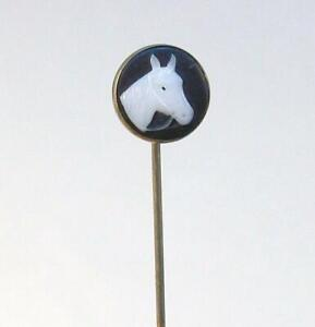 Vintage Metal WHITE HORSE on Black Glass Round Cabochon Stick Pin