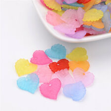 100PCS Mixed Transparent Leaf Frosted Acrylic Pendants Charming Craft 14x14x3mm
