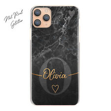 Personalised Initial Phone Case, Grey Heart on Black Marble Hard Cover with Name
