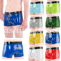 Boxer shorts Latex Rubber Pure Color Black Side with Zipper Waterproof  S-XXL