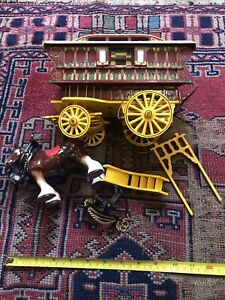 Reuge Music Box Romany Gypsy wagon caravan porcelain Staffordshire horse EE
