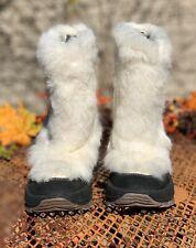 ULU Makea White Fur Black Leather Winter Womans Boots 6 M Excellent Condition