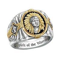 Hip-hop style Viking warrior two-color ring Indian spiritual totem drip  ring