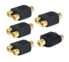 5pc RCA Y Splitter 1 Female to 2 Female Jack Adapter Audio Cable Converter
