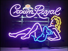 "New Crown Royal Girl Whiskey Neon Light Sign 20""x16"""