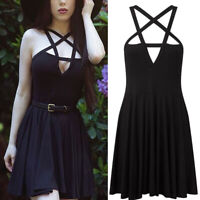 Fashion Women Punk Gothic Dress Cosplay Fancy Dress Retro Mini Dress Costume New