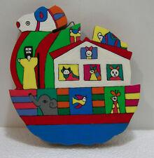 FOLK ART RELIGIOUS NOAH'S ARK ANIMALS JESUS WOOD PLAQUE ANIMATED HAND CRAFTED