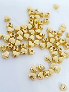 100 Gold Hearts 4mm Spacer Beads For Jewellery Making