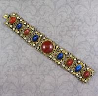 Vintage 1920s Austrian Brass Filigree Faux Carnelian, Lapis & Pearl Bracelet