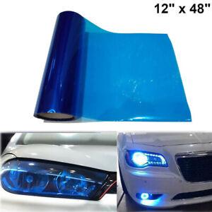 "12""x 48"" Glossy Dark Blue Tint Headlight Taillight Vinyl Wrap Sheet Sticker Trim"