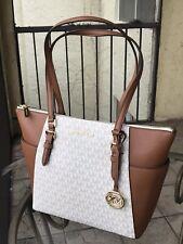 Michael Kors Women Lady Leather Shoulder Tote Bag Purse Vanilla Brown Handbag MK
