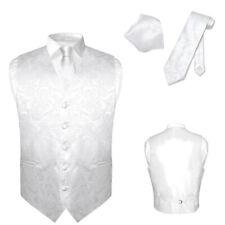Men's Dress VEST NeckTie for Suit Tux WHITE Color PAISLEY Design Tie Hanky Set