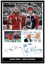 (#198) bjorn borg & john mcenroe signed a4 photo//framed (reprint) great gift