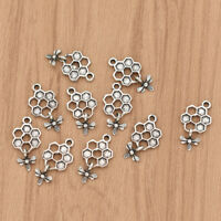 10pcs Bee and Honey Comb Pendants Alloy Silver Charms for Women Necklace Making