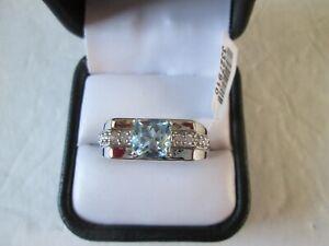 Mens Blue Topaz Platinum bond ring (Size 12) TGW 2.87 cts.