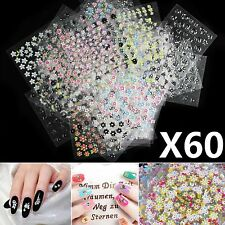 60 Pcs Sheets 3d Design Nail Art Manicure Stickers Tips Decal Flower