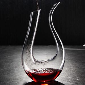 1.5L Bleifrei  Wein Kristallglas Dekanter Weinkaraffe Weinausgießer U-Form Neu ❤