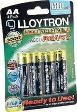 Lloytron AA NiMH 1300 mAh Rechargeable Batteries Pack of 4