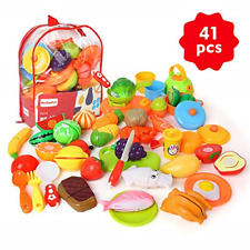 BeebeeRun Cutting Pretend Play Food with Clear Back-Pack, 41 Pcs Toy Kitchen for