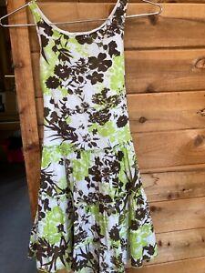 Girl's Size 7 BONNIE JEAN Dress Sleeveless  Cotton Green Brown Tiered Skirt
