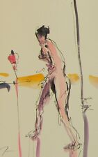 JOSE TRUJILLO ORIGINAL Watercolor-Painting SIGNED Nude Woman FIGURE COLLECTIBLE