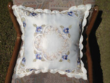 Delicate  Embroidery Flower Cushion Cover Home Decor 40cm Blue Polyester